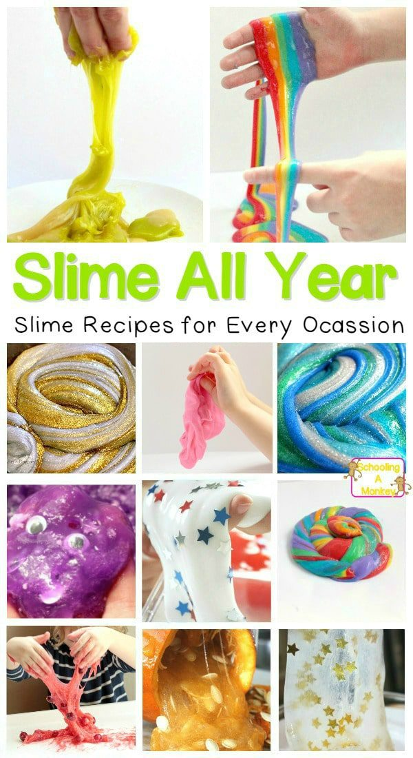 These slime recipes are oh-so-easy and give you plenty of ideas for different foolproof slime recipes to make for holidays and everyday! Learn how to make satisfying slime with the best slime recipe! #slimerecipies #slime #slimer #kidsactivities