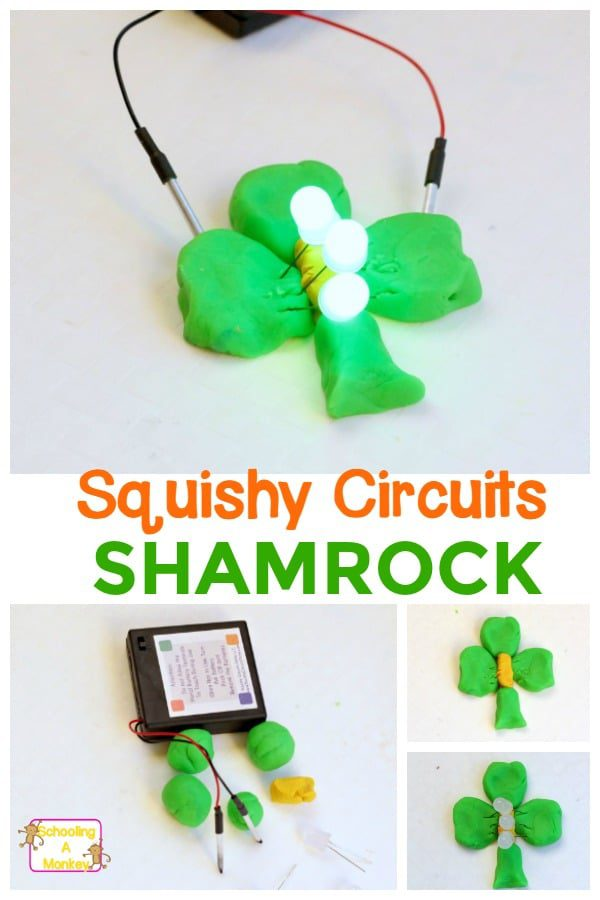 Teach the basics of circuits for kids with this Squishy Circuits Shamrock! Tons of fun for St. Patrick's Day learning that will last beyond the holiday.