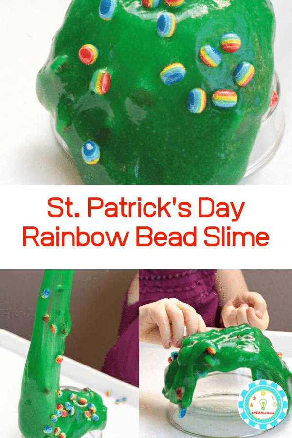 This rainbow bead sensory slime recipe is perfect for St. Patrick's Day STEM activities or any time of year! Rainbow fun and stretchy slime fun!