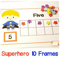 Mini Eraser Super Hero Printables 10 Frames 1-10
