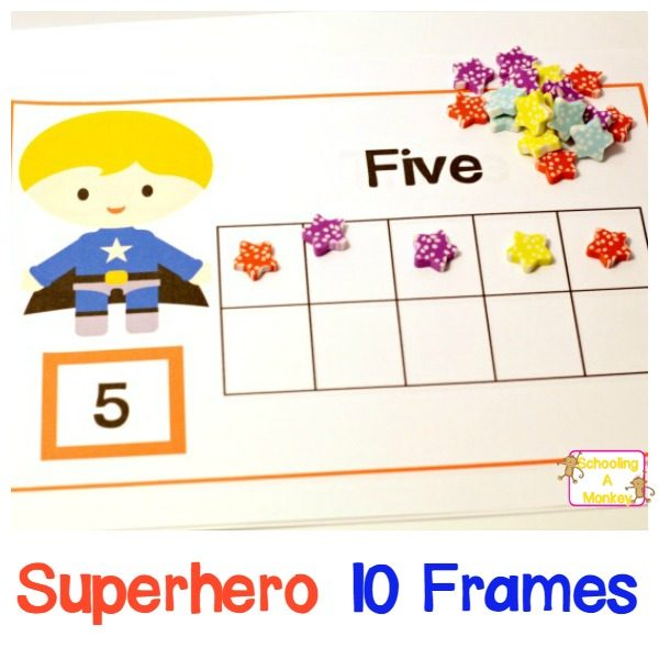 If your kids love superheros, then they will love these 10-frame super hero printables 10 frames! Teach preschoolers to count like a superhero!