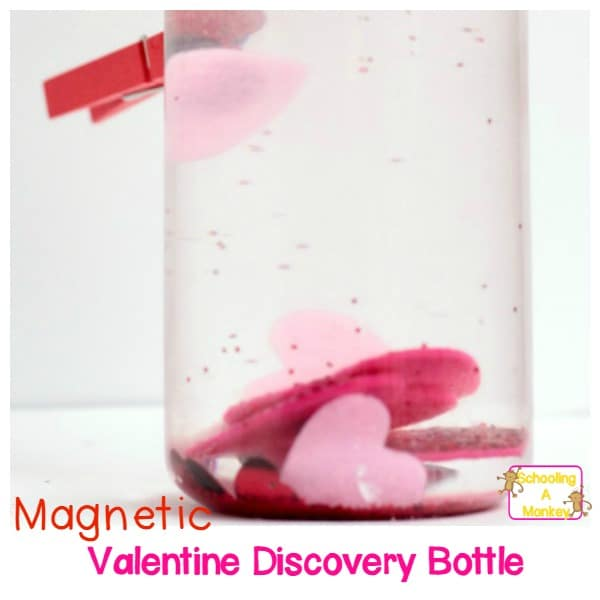 Try this fun Valentine discovery bottle to learn about magnets, technology, and science in this simple preschool STEM activity for Valentine's Day!