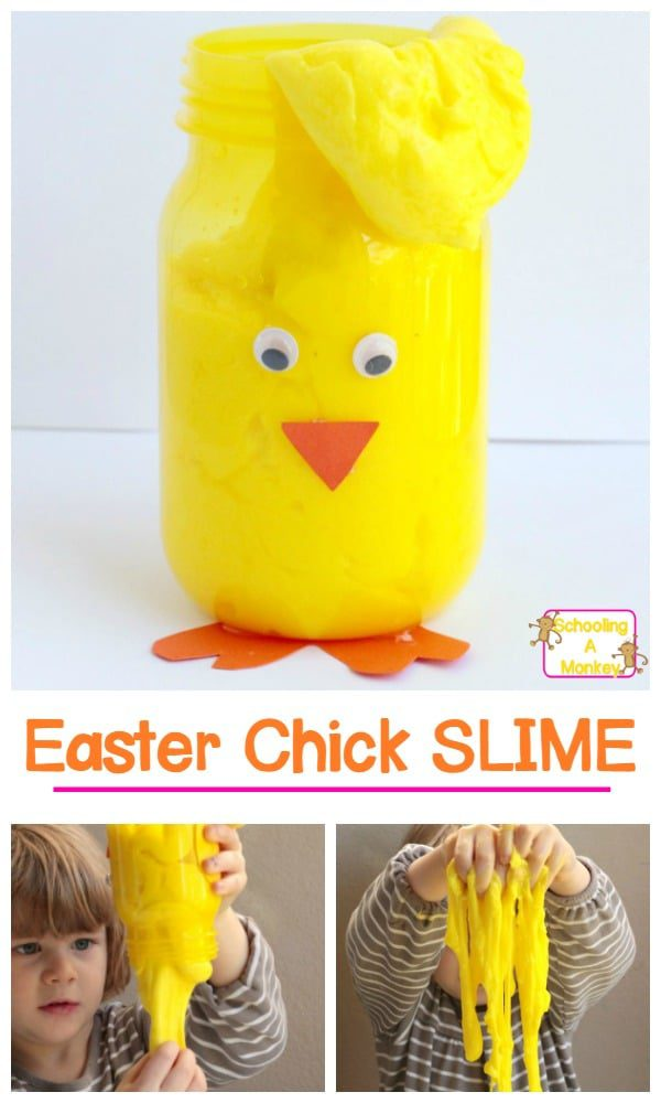 This chick Easter slime is adorable and oh-so-perfect for Easter! Add it to an Easter basket or play with it just for fun!