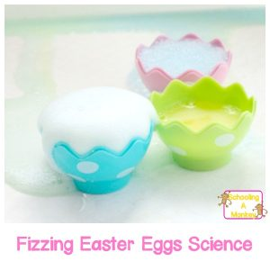 This Easter, bring some science into the preschool classroom with the fizzing Easter eggs science experiment! Preschoolers will love this Easter activity!