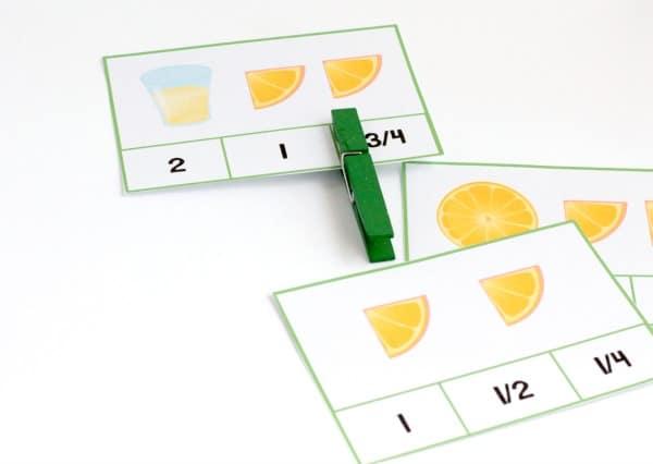 Love lemons? Love lemonade? Kids will love these adorable lemon fraction clip cards that help them identify fractions in lemons and lemonade! So much fun!