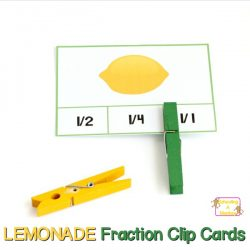 Lemonade and Lemon Fraction Clip Cards for Elementary Kids