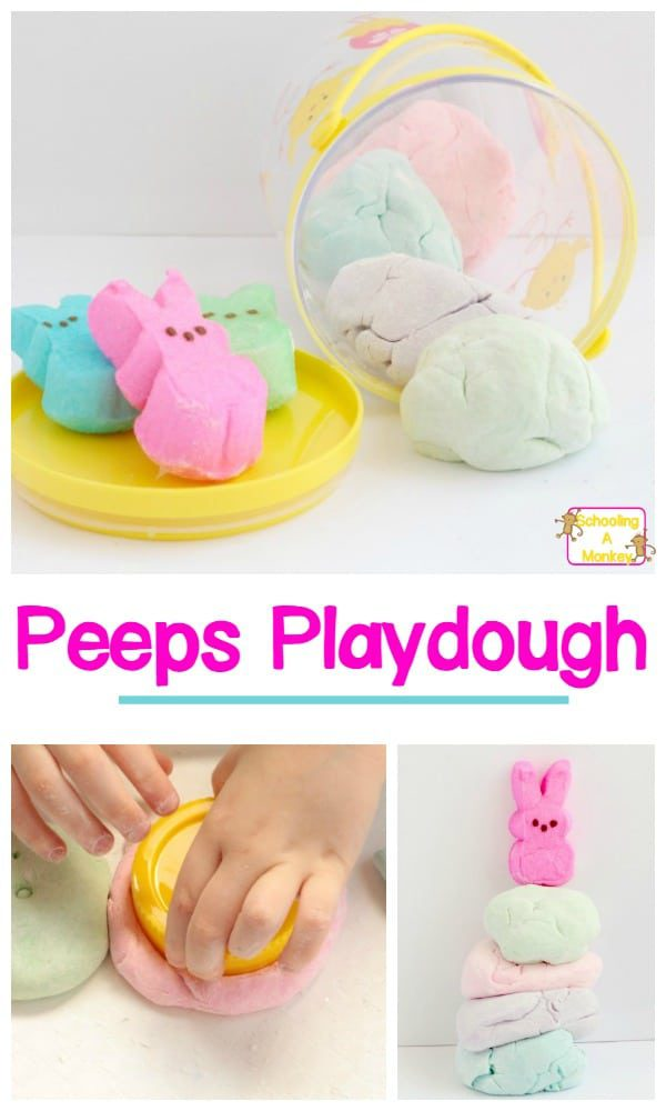Whether you love or hate Peeps, you can't deny they are adorable! You don't have to like eating Peeps to make this super-fun Peeps playdough recipe! Making Peeps playdough is a fun sensory activity for kids and you can even turn this into a Peeps STEM activity! #peeps #easteractivities #stemactivities #easter