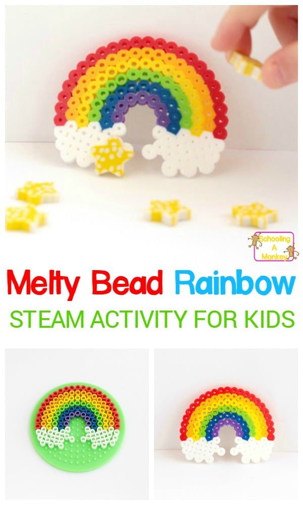 Kids can boost pattern skills, design skills, and fine motor skills with this super-fun and super-colorful Perler bead rainbow engineering challenge! It's a fun St. Patrick's Day STEM activity for kids. #stemactivities #stpatricksday #engineeringactivities #engineering