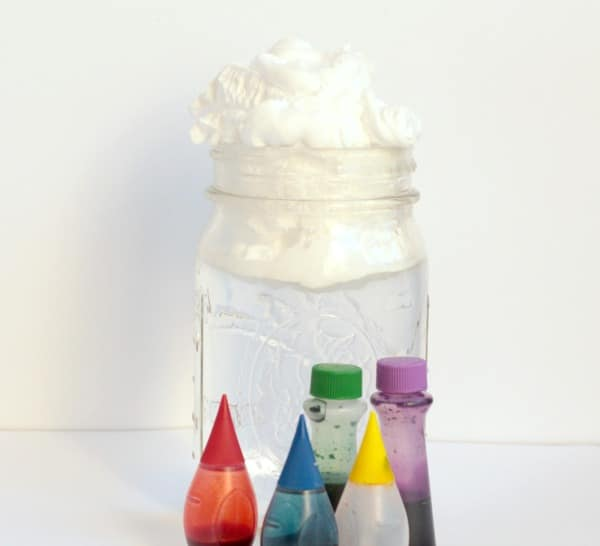 This raining rainbow cloud in a jar not only makes it rain, but it makes a hurricane! A simple STEM project for little ones (and older kids love it too!)