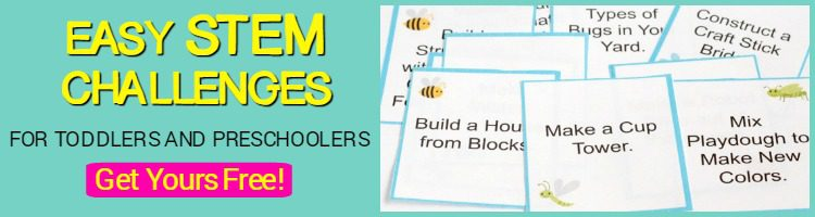 STEM challenge cards for toddlers and preschoolers.