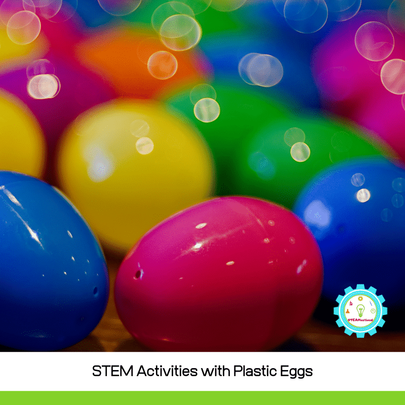 If you can't get real eggs this spring, these Easter STEM Activities with Plastic Eggs provide a fun substitute for Easter STEM activities!