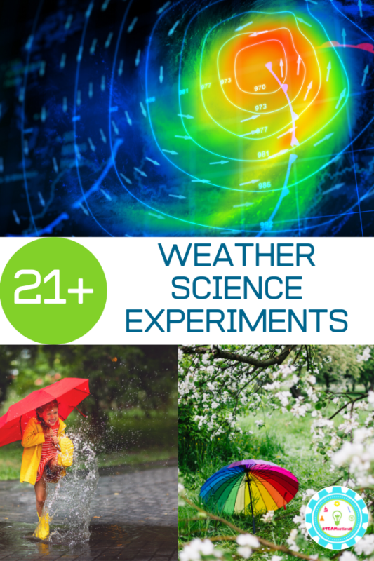 Try these weather science experiments and learn all about weather science in a hands-on way that kids will love! Weather science for kids is so much fun!