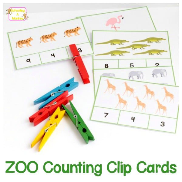 zoo counting clip cards s