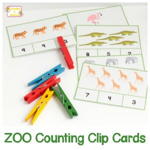Preschool and Kindergarten Zoo Counting Clip Cards 1-10