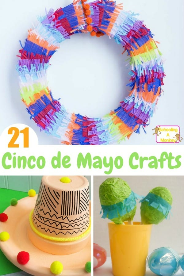 Kids will love these Cinco de Mayo crafts perfect for a Cinco de Mayo theme, or for any Mexico learning theme or Cinco de Mayo activities.