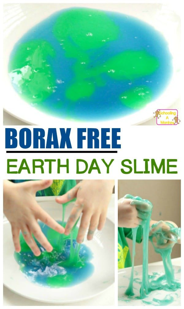 Make this super fun, kid safe baking soda slime in honor of Earth Day! Use other colors and this borax free slime can be used any time of year! Slime with baking soda makes a wonderful alternative to borax slime and baking soda and glue mixes wonderfully to make a borax-free soda slime. #slimerecipe #slime #slimer #earthday