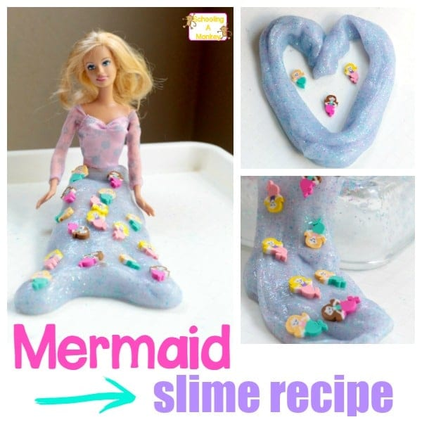 Kids will love this incandescent, stretchy mermaid slime! It's the perfect summer slime recipe and the perfect addition to under the sea activities!