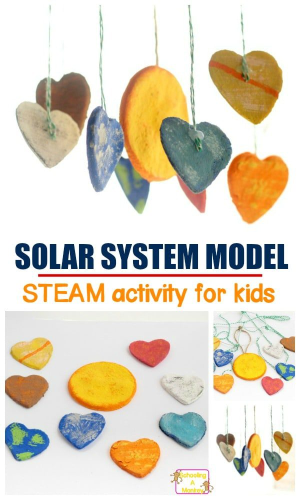 Make this creative and colorful solar system mobile made from clay hearts! This solar system project is perfect for summer crafts or the science fair!