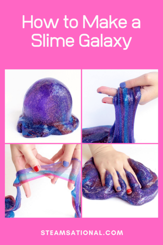 Wondering how to make galaxy slime? This creative galaxy slime recipe produces a slime with the exact appearance of galactic slime from space.