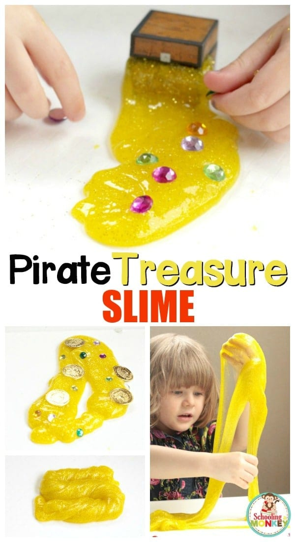 Little pirate lovers will adore this fun recipe for pirate treasure slime! This slime recipe is the perfect sensory activity for a pirate thematic unit!