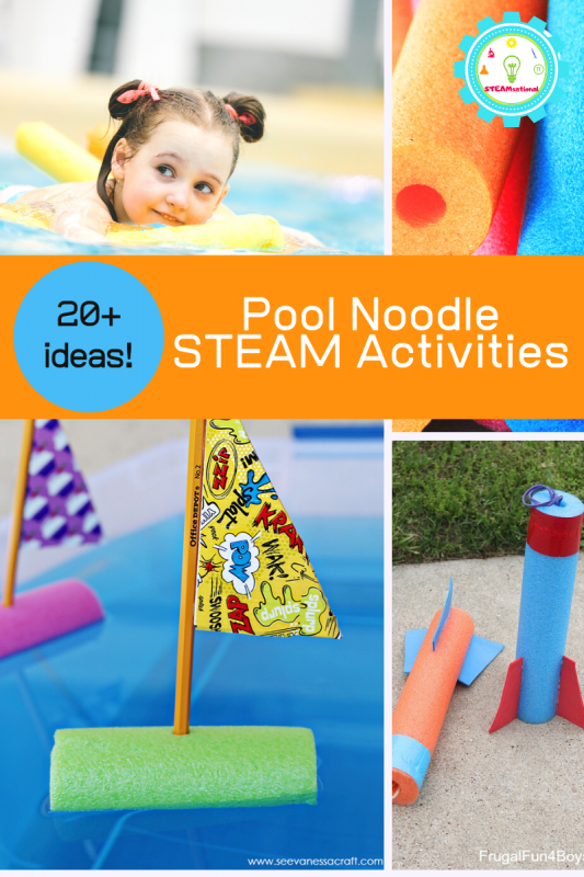 Kids will love these pool noodle activities. Learn with pool noodles and try these pool noodle STEM activities at home today!