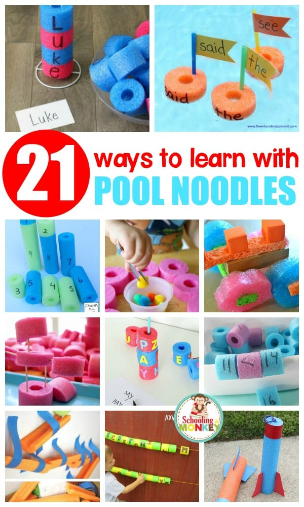 Try these creative pool noodle learning activities and learn with pool noodles! Kids will love these hands on educational activities that are perfect for classroom or home use.