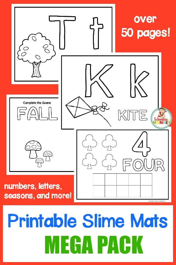 Combine sensory play and learning activities with these printable slime learning mats! Slime is a fun way to learn hands on!