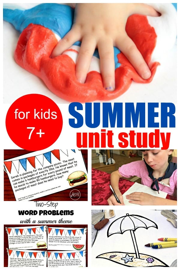 Build a complete summer learning unit study or thematic unit around these summer activities for older kids!