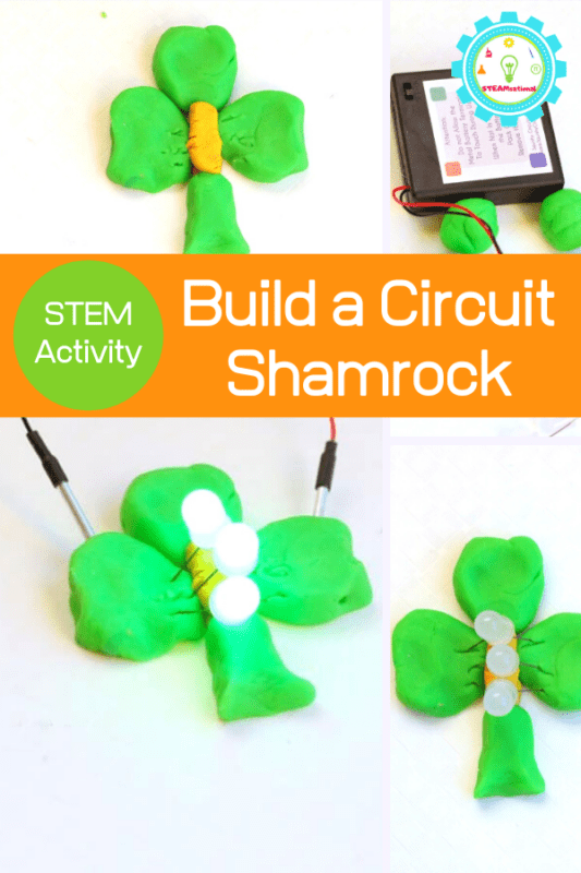 Teach the basics of circuits for kids with this light-up circuit shamrock! Tons of fun for St. Patrick's Day STEM learning that will last beyond the holiday.