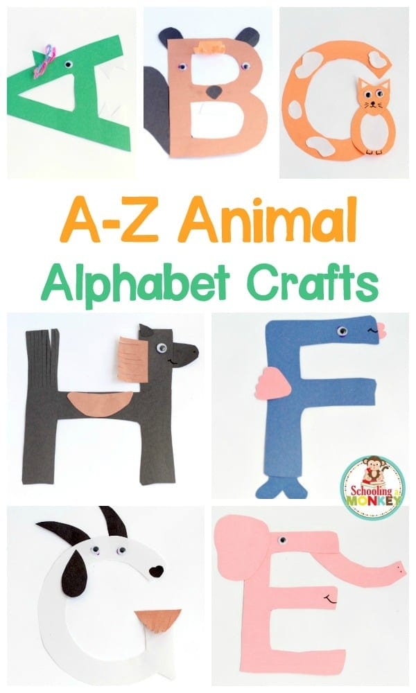 Transform letter cut-outs into adorable animal alphabet crafts! These preschool alphabet letter crafts are the perfect addition to letter of the week activities! Make a craft alphabet for toddlers and have a blast with these alphabet crafts for kids. #alphabetcrafts #abc #abccrafts #handsonlearning