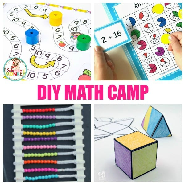 Keeping math skills boosted in the summer doesn't have to be boring! Use these math camp ideas to make your own DIY math summer camp at home! #stem #stemed #summercamp #summerfun #mathactivities #math #handsonlearning