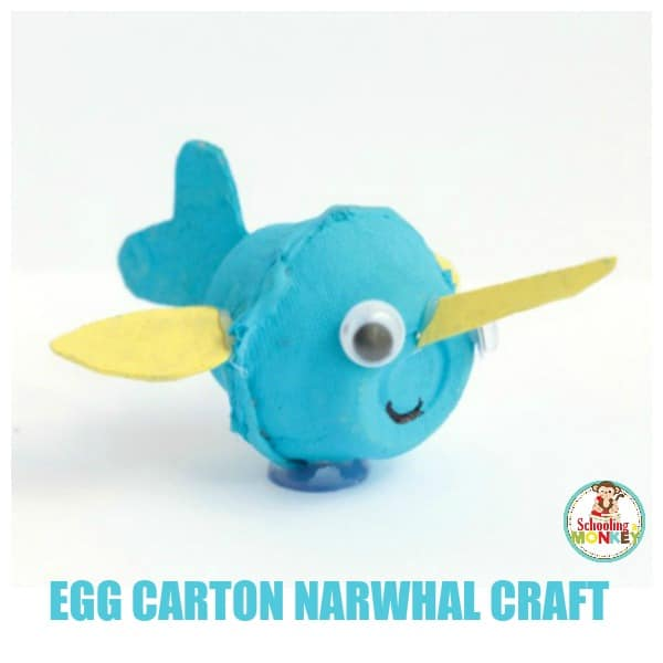 Egg carton crafts are easy and make perfect summer crafts for kids. If you're making ocean crafts, don't miss this simple egg carton narwhal craft!