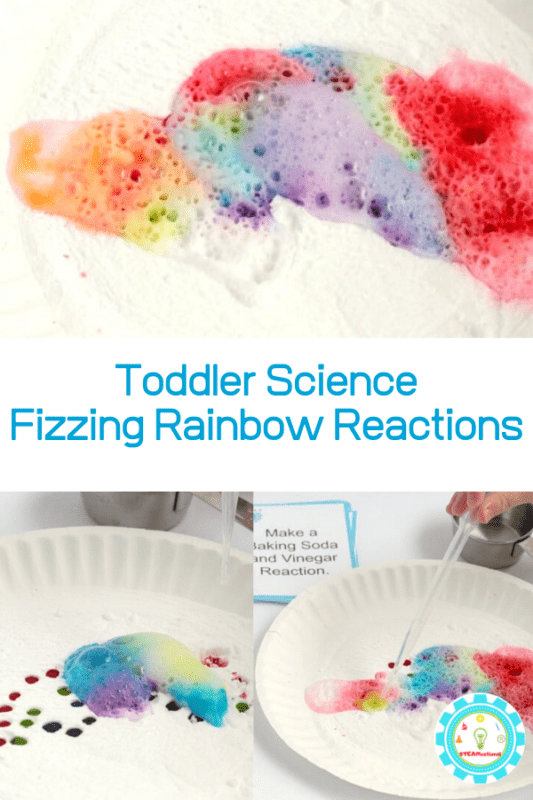 If you want to try STEM activities for toddlers and preschoolers, start with easy, fun things! These fizzing rainbow baking soda and vinegar experiment fit the bill perfectly and is so easy a toddler can do it!