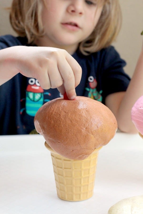 If you're a slime lover, you'll love this fun slime recipe that looks just like real ice cream! This fun ice cream slime is a super fun ice cream activity!