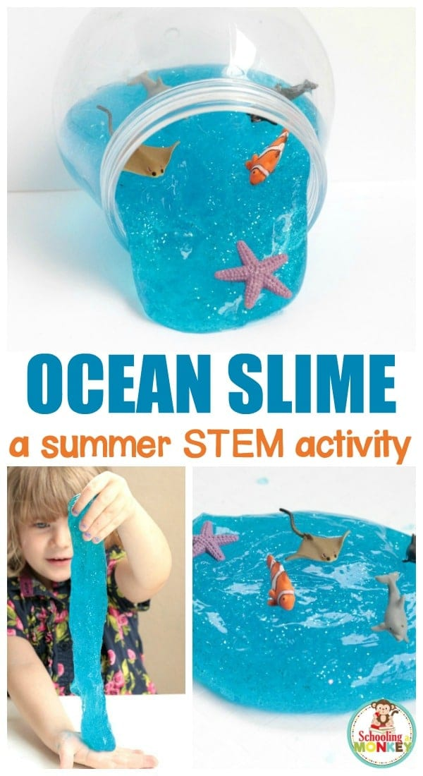 Love slime? You'll love this ocean slime recipe make with blue glitter slime and ocean creatures! Learn how to make ocean slime with borax and transform your ocean slime into an under the sea experience perfect for summer, or for when you're just wishing to bring the ocean closer to home. #slime #slimerecipes #kidsactivities #stemactivities