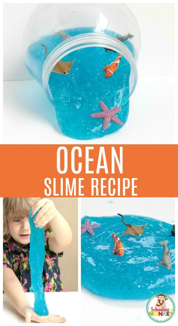 Learn how to make ocean slime with borax. This ocean slime recipe is the perfect summer slime recipe! It looks just like ocean water with sea creatures swimming around in it! Under the sea slime is so much fun to make, and this easy slime recipe will have you wanting to make slime over and over! #slime #slimer #kidsactivities #summerfun #summeractivities #sensory #slimerecipe