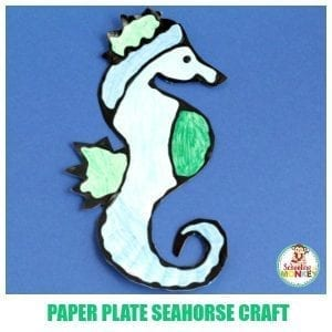 Adorable Black Glue Paper Plate Seahorse Craft for Kids