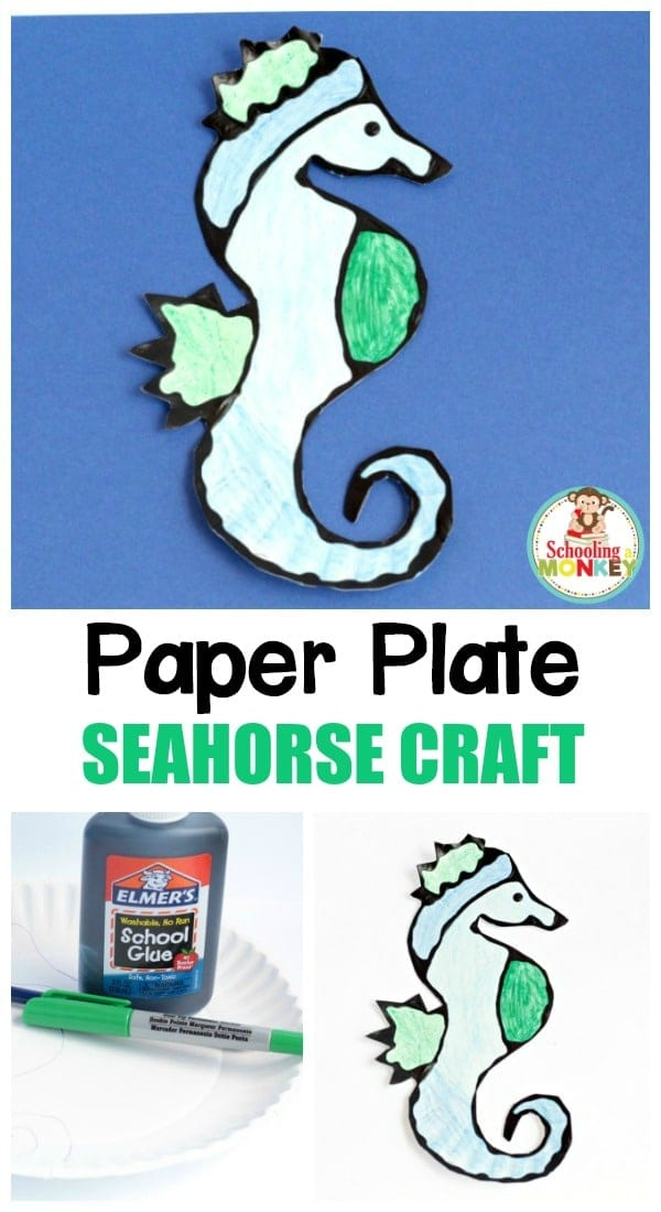 Learn how to make a Paper Plate Seahorse Craft! Black glue makes this seahorse paper plate craft extra special and fun!