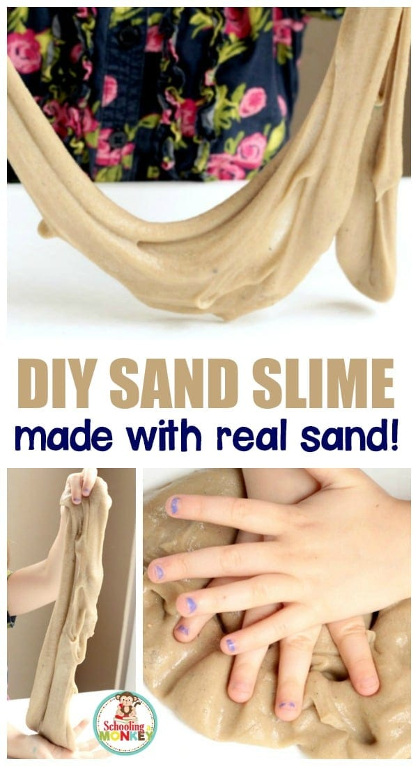 Did you know that by adding sand to slime, you can make sand slime? Learn the best way for how to make sand slime in this super simple slime recipe!