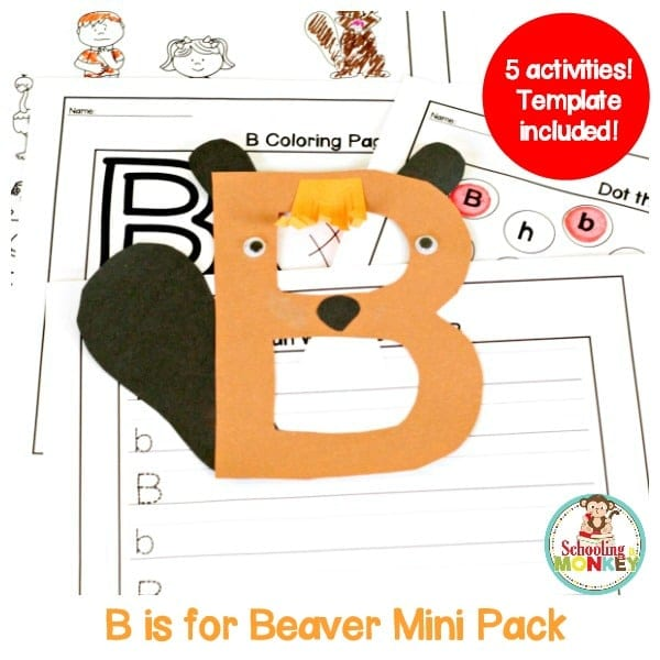 Teach kids all about the letter B with this printable letter B activity pack. This pack is designed to compliment letter the B is for Beaver letter craft.