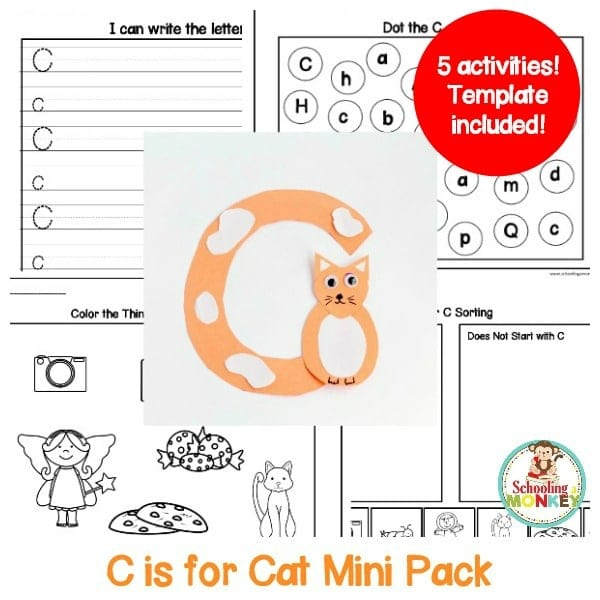Make learning letters fun with this letter C activity pack! Kids will love these hands-on activities and teachers will love how easy it is to print and go!
