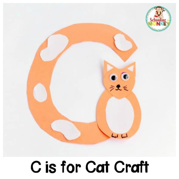 Make learning letters fun with these adorable alphabet crafts! The C is for cat letter craft is a fun way to teach the hard C sound to kids.