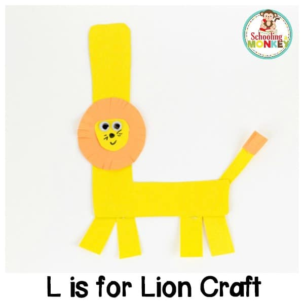 If you are teaching the letter L, you will love the L is for lion letter craft! It's a fun alphabet craft perfect for kindergarten activities!