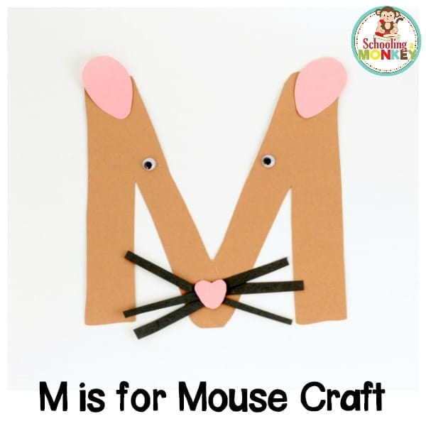 Learning the letter M has never been as fun as it is when you make this M is for mouse letter craft! This kindergarten alphabet activity is super fun!