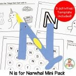 Make learning the letter N fun and memorable with this N is for narwhal letter craft! It's the perfect kindergarten activity or preschool activity.