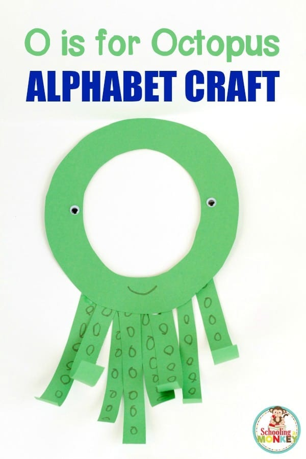 Show your love of the letter O and the ocean with this fun O is for octopus letter craft! It's a fun alphabet activity for kindergarten and preschool!