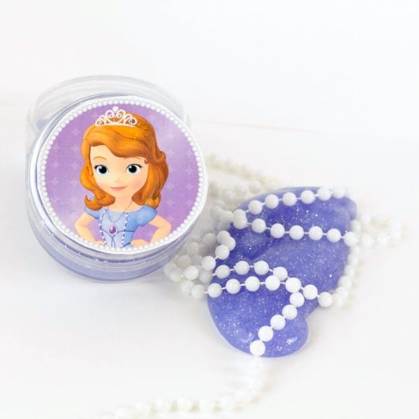 Kids will love this sparkly Sofia the First Slime inspired by the Amulet of Avalor! This slime would make a perfect Sofia the First party favor.