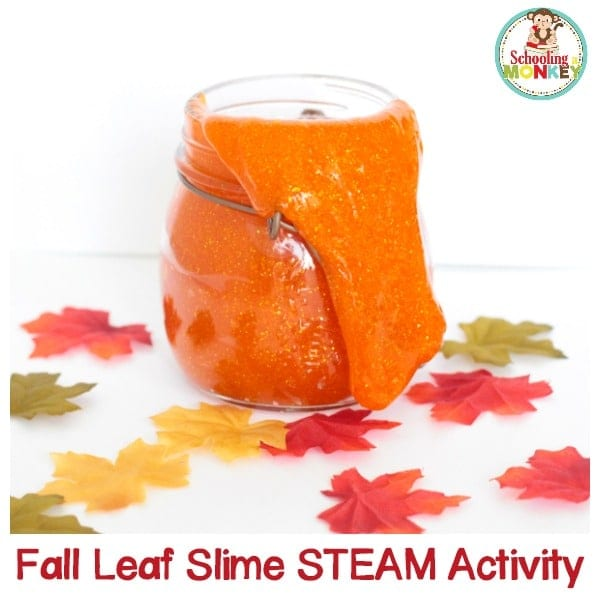 Fall is the season for leaves, pumpkins, and slime? This fall leaf slime captures the feel of fall and makes a wonderful fall STEAM activity for kids!