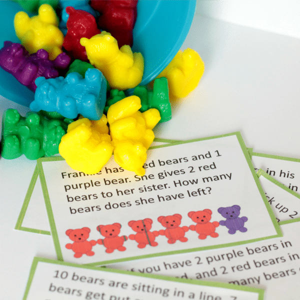 These math counting bear printables feature word challenge cards teaching kindergartners addition and subtraction. Perfect as a math center activity!