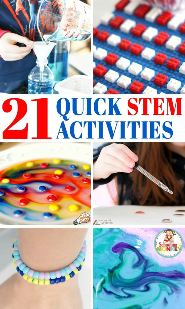 Easy STEM activities for kids are tons of fun. But you don't need tons of time to make quick STEM happen. These quick STEM activities take 10 minutes or less for the quick STEM challenges! #stemactivities #stem #steamactivities #kidsactivities